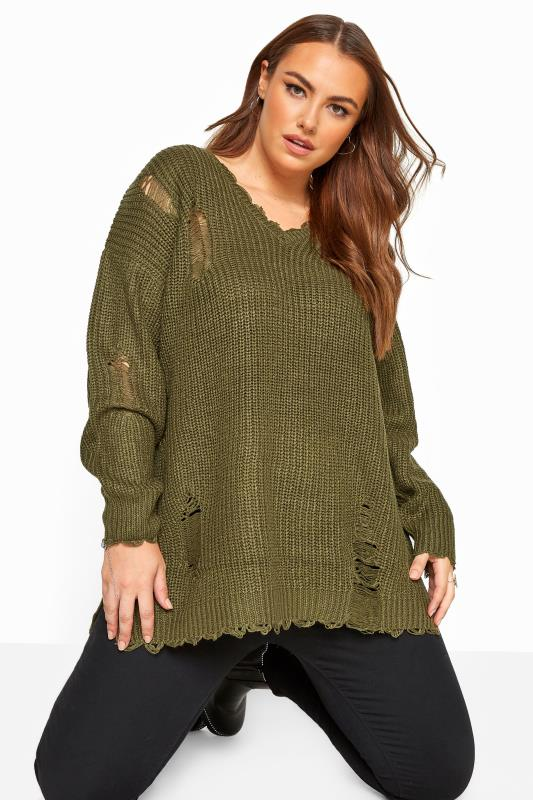 Plus Size Jumpers Khaki Distressed Knitted Jumper