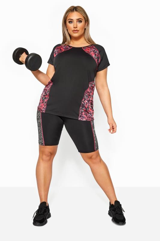 Plus Size Active Tops ACTIVE Black Animal Print Panel Cycling Shorts