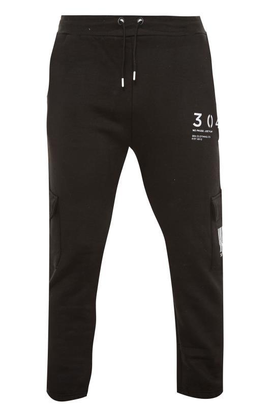 Plus Size  304 CLOTHING Black Barcode Cargo Joggers