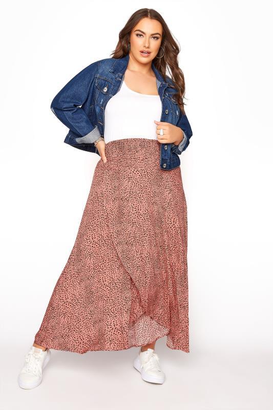 Plus Size  Pink Animal Print Tulip Skirt