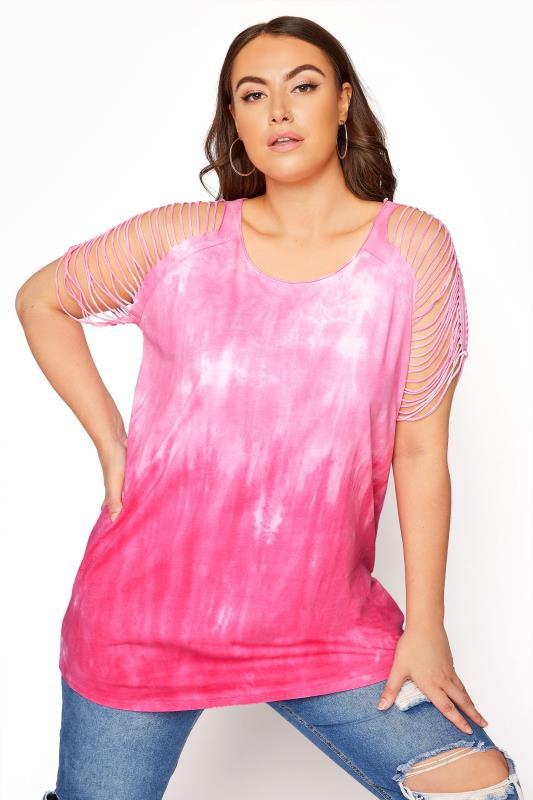 Rosafarbenes Batik T-Shirt mit zerschnittenen Schulter-Details