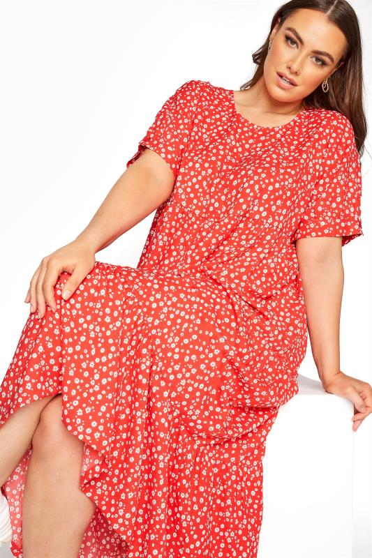 LIMITED COLLECTION Red Daisy Print Tiered Maxi Dress_F.jpg