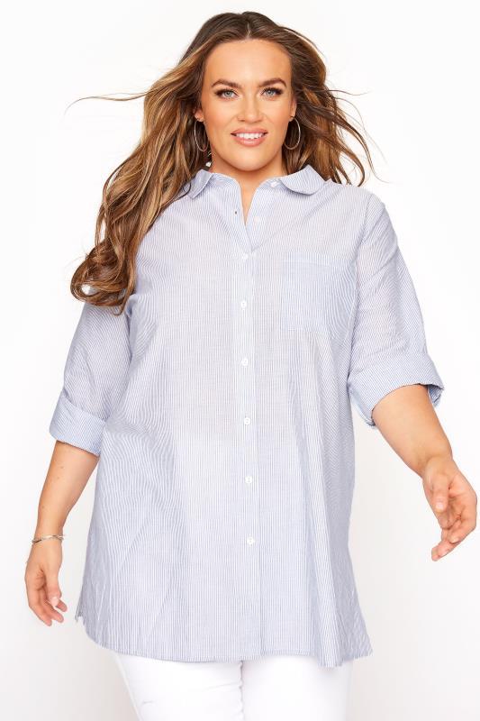 Pale Blue Striped Boyfriend Shirt