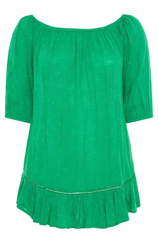 Plus Size  Green Bardot Dobby Top