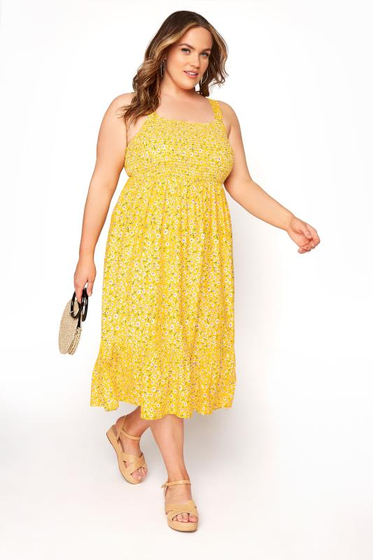 Yellow Floral Sleeveless Shirred Dress