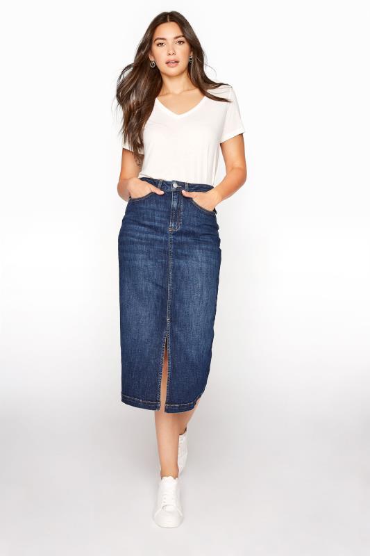 Tall  LTS Blue Denim Pencil Skirt