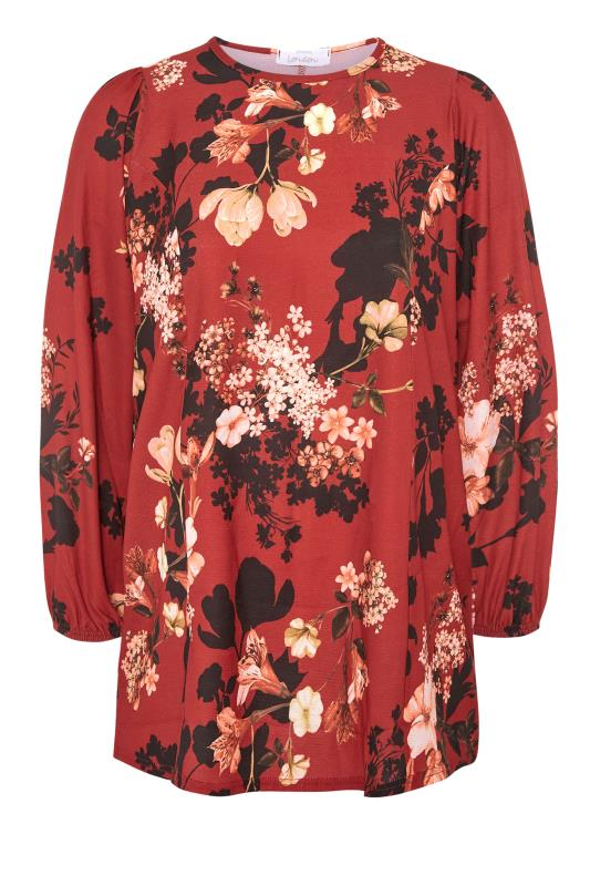YOURS LONDON Red Floral Balloon Sleeve Blouse_F.jpg