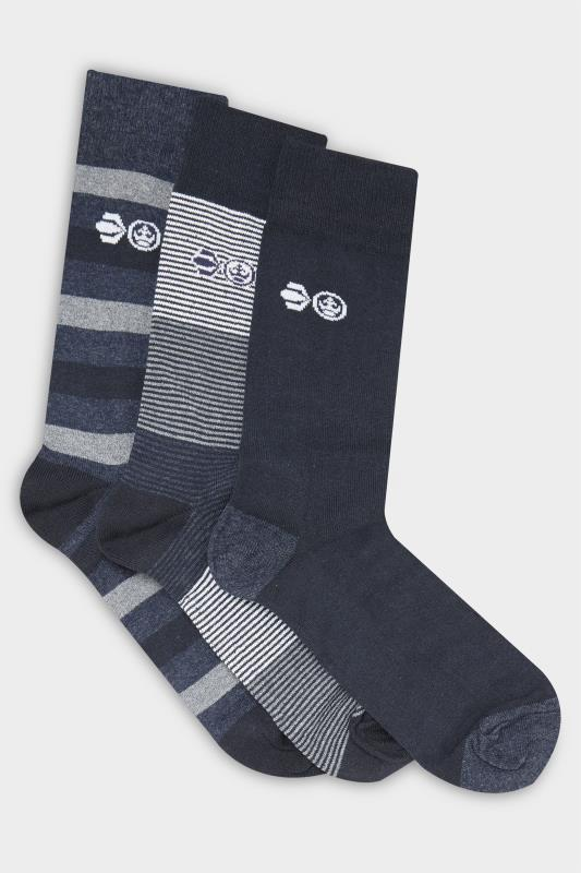 Plus Size Casual / Every Day CROSSHATCH 3 PACK Navy Gift Box Socks