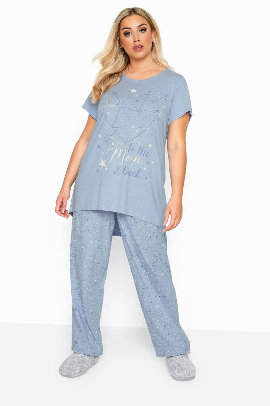 Plus Size Pyjamas Blue Glitter 'To The Moon And Back' Slogan Pyjama Set