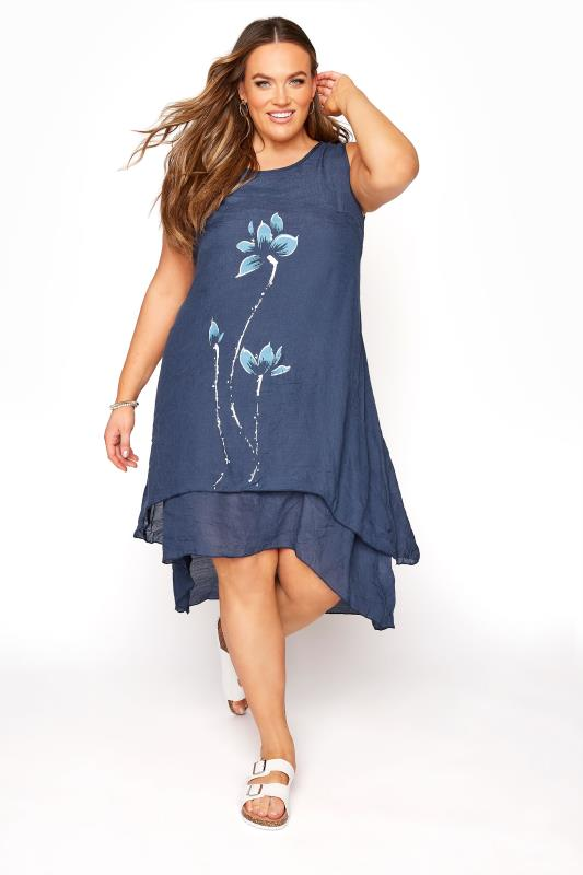 Navy Floral Double Layer Dress