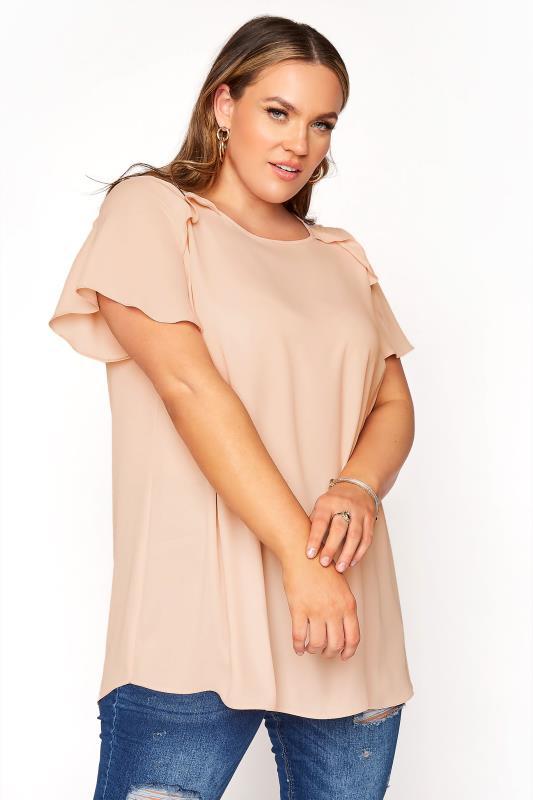 Plus Size  Peach Angel Sleeve Frill Shoulder Tunic