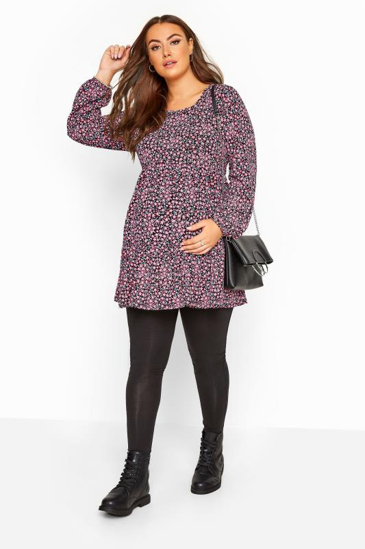 BUMP IT UP MATERNITY Multi Floral Tiered Smock Top