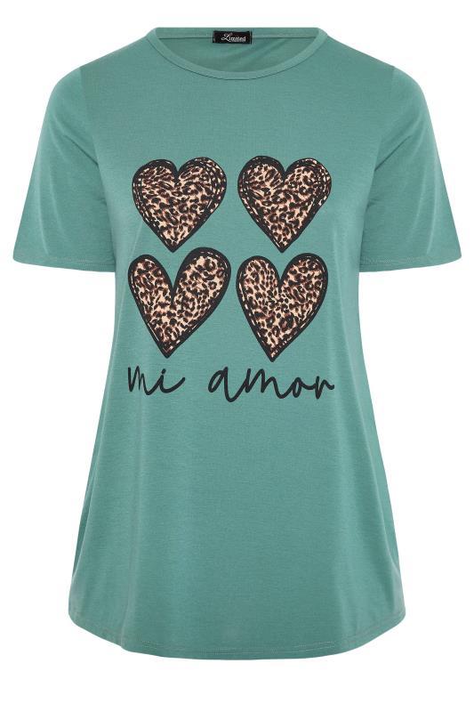 LIMITED COLLECTION Sage 'Mi Amor' Slogan Printed T-Shirt_F.jpg