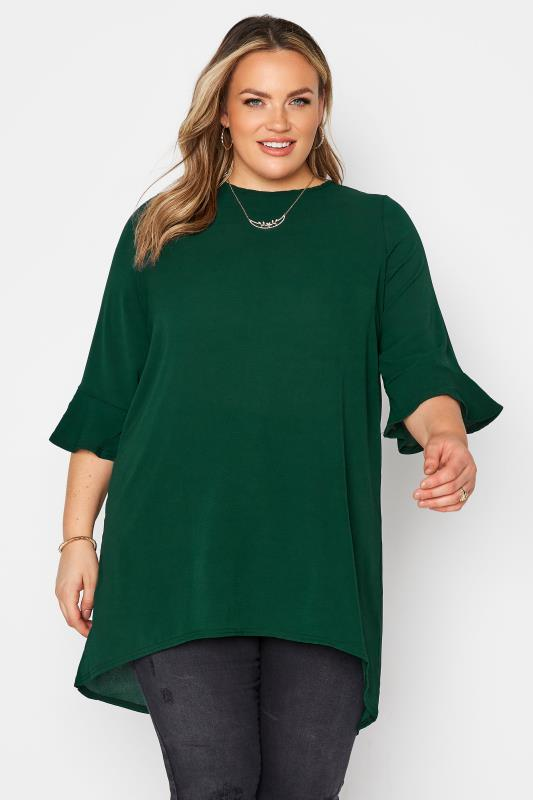 YOURS LONDON Forest Green Flute Sleeve Blouse_A.jpg