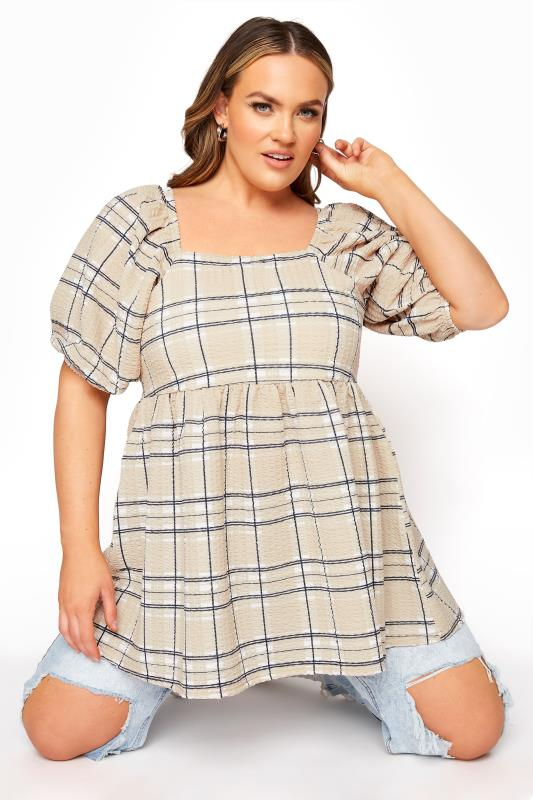 Plus Size  LIMITED COLLECTION Beige Check Milkmaid Top