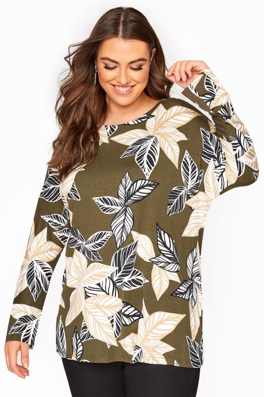 Plus Size  Khaki Leaf Print Batwing Top