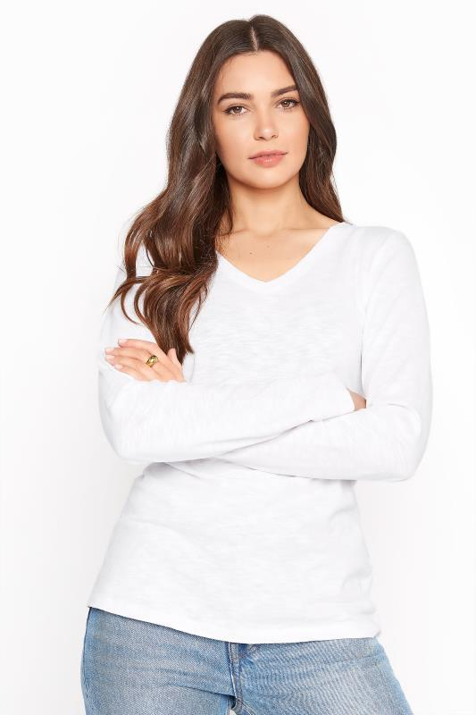 White Cotton V-Neck Long Sleeve Top