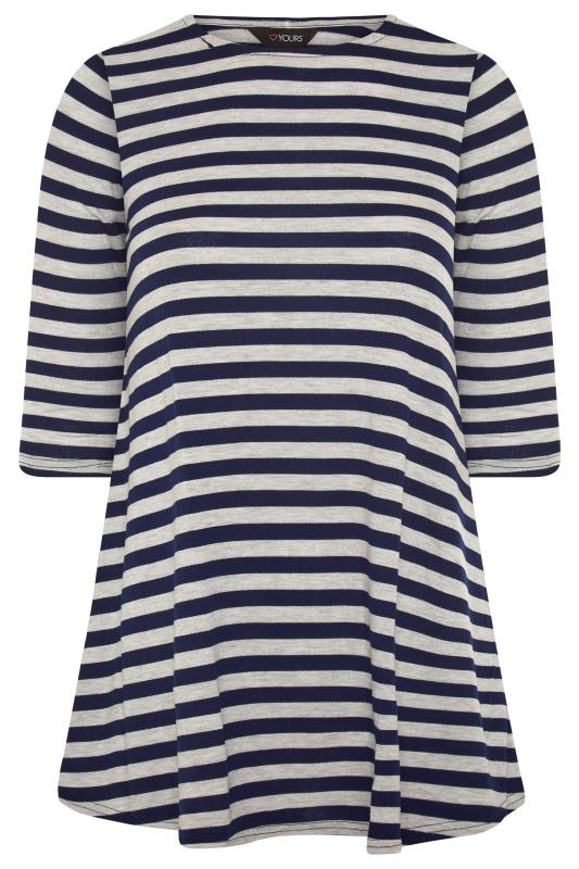 Plus Size  Navy & Beige Stripe 3/4 Length Sleeve Top