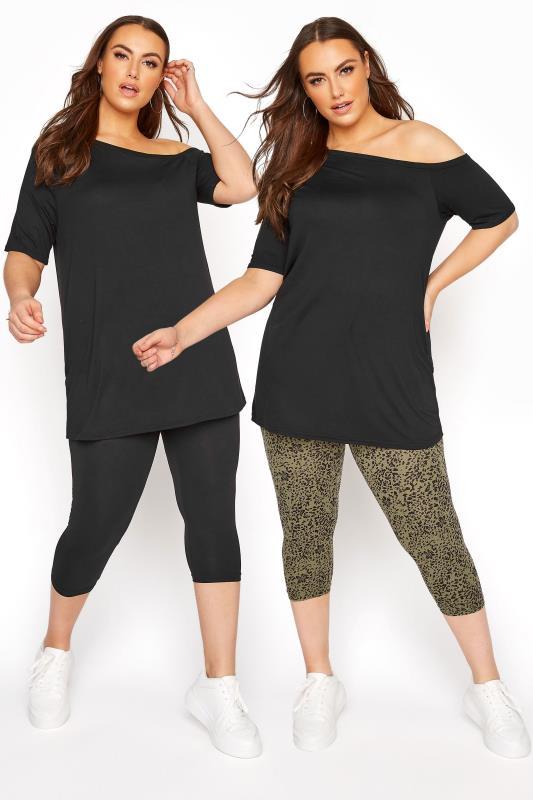 Plus Size  2 PACK Black & Khaki Floral Animal Print Cropped Leggings