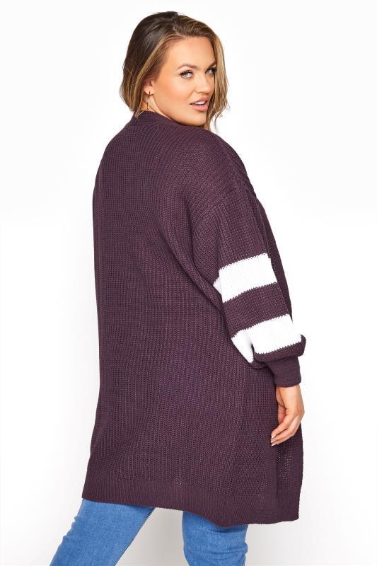 Purple Varsity Stripes Knitted Cardigan_C.jpg