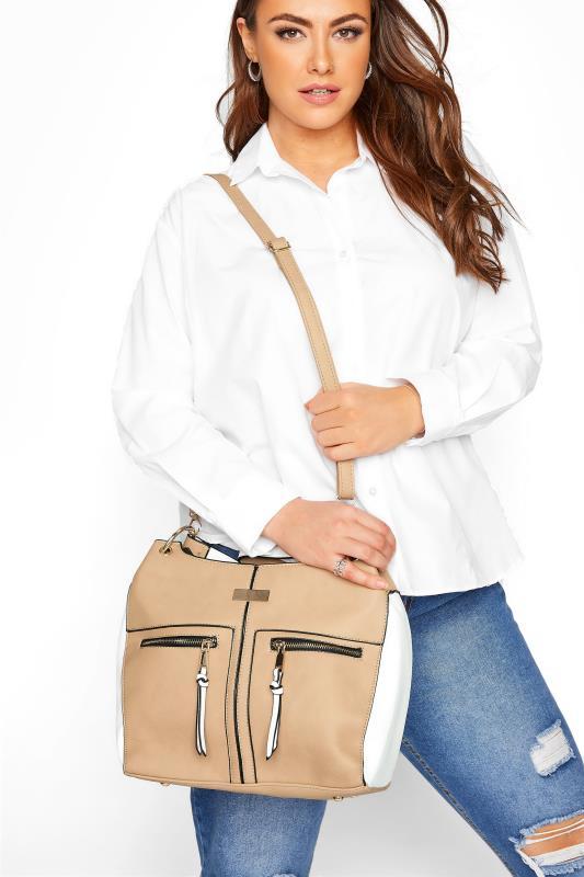 Beige Contrast Shoulder Bag