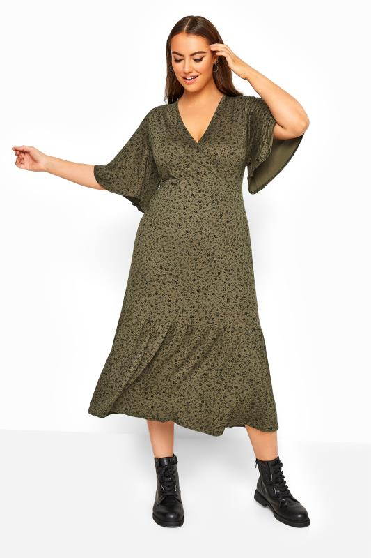 Plus Size Midi Dresses LIMITED COLLECTION Khaki Floral Frill Hem Wrap Dress