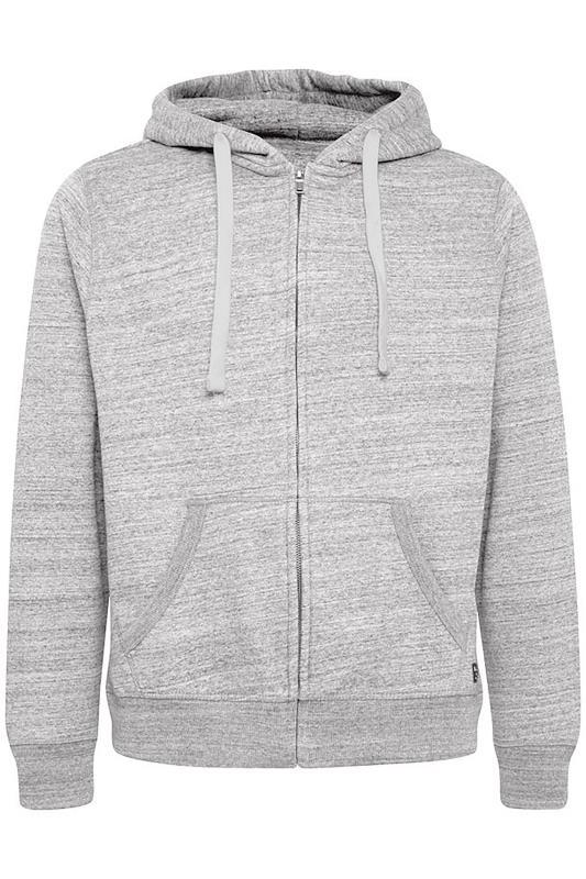 Plus Size  BLEND Grey Marl Zip Through Sweat Hoodie