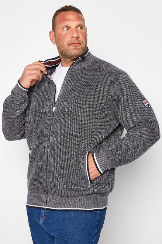 Plus Size  D555 Grey Marl Contrast Zip-Through Jumper