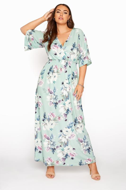 YOURS LONDON Green Floral Wrap Midaxi Dress_A.jpg