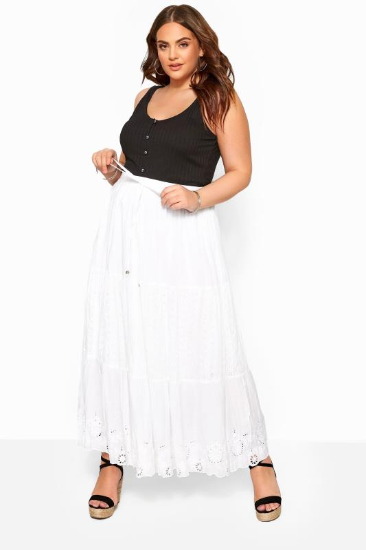 Plus Size Maxi Skirts White Crinkle Broderie Anglaise Maxi Skirt