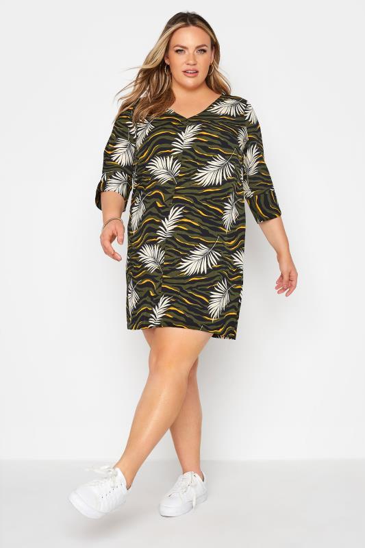 Khaki Tropical V-Neck Shift Dress_B.jpg