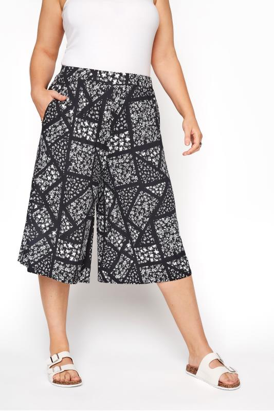 Black Ditsy Floral Patchwork Culottes