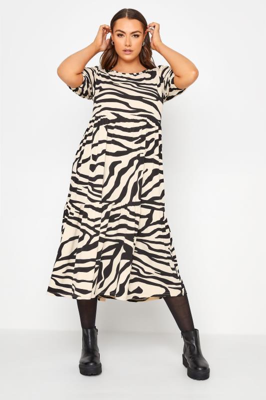 Plus Size  Cream Zebra Print Puff Sleeve Smock Midi Dress