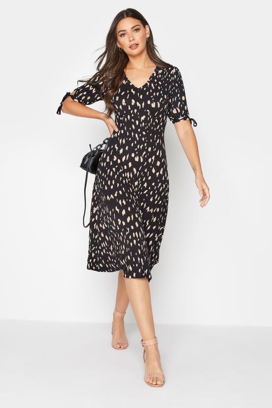 LTS Black Animal Print Tie Sleeve Midi Dress
