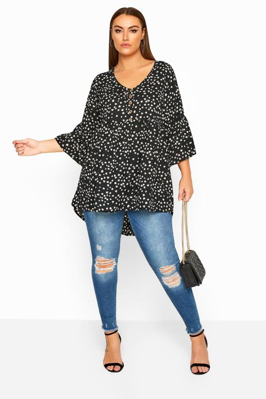 LIMITED COLLECTION Black Heart Print Dipped Hem Smock Top