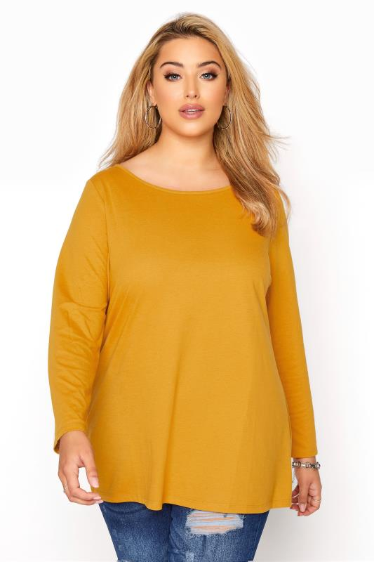 Plus Size  Mustard Yellow Long Sleeve Scoop Neck T-Shirt