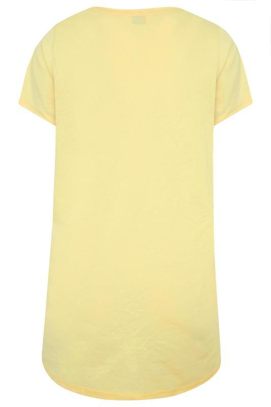 Yellow 'Let Me Sleep' Dipped Back Pyjama Top_BK.jpg