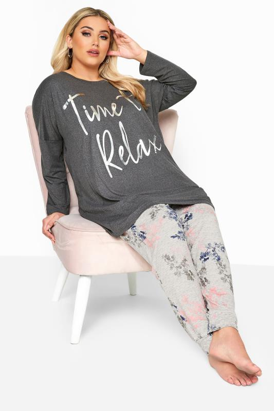 Plus Size Loungewear dla puszystych Grey Floral 'Time To Relax' Slogan Lounge Set