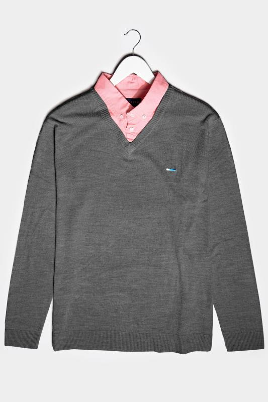 Men's  BadRhino Charcoal Grey & Pink Essential Mock Shirt Jumper