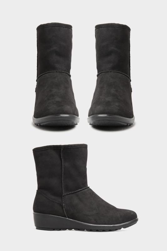 Black Vegan Suede Wedge Heel Boots In Extra Wide Fit_split.jpg