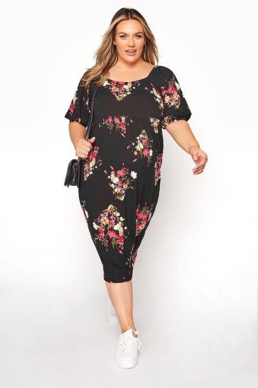 BUMP IT UP MATERNITY Black Floral Milkmaid Midi Dress_B.jpg