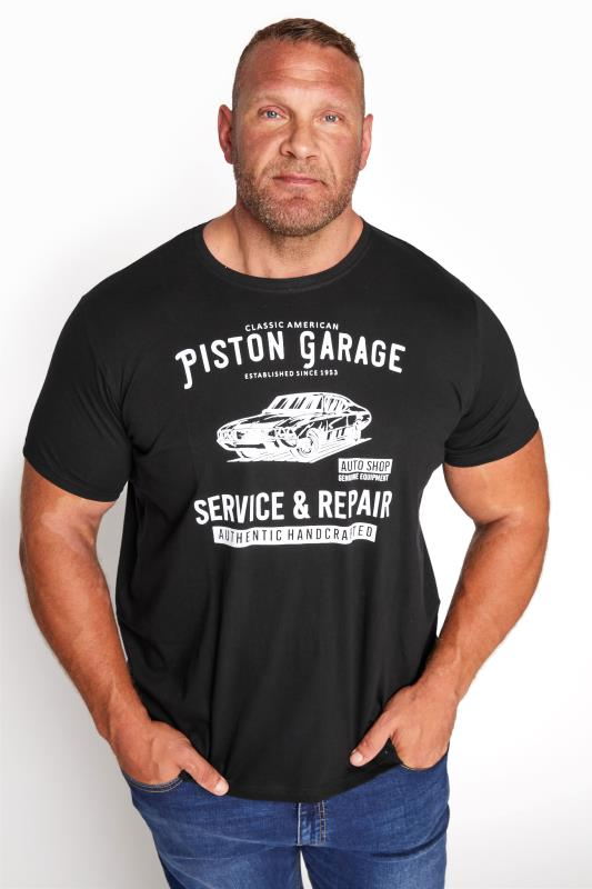 BadRhino Black Piston Garage Graphic Print T-Shirt