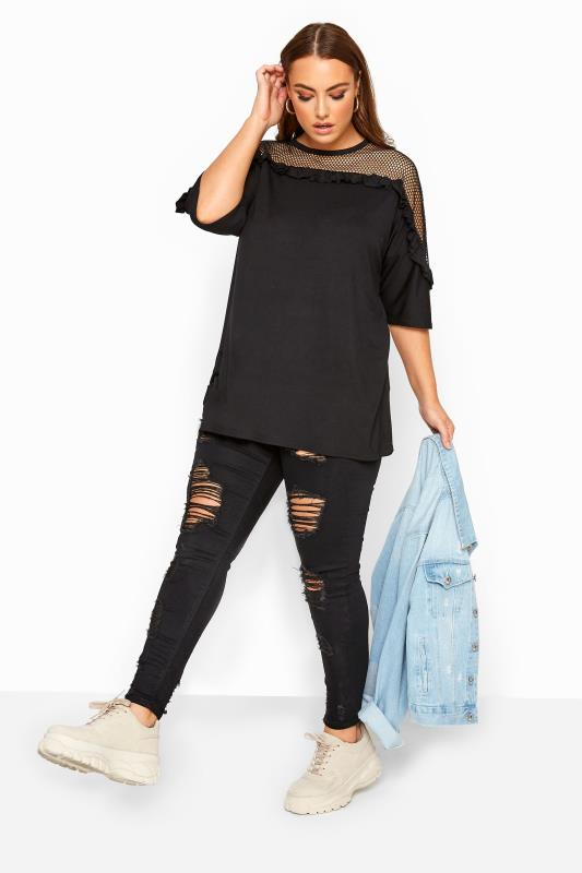 LIMITED COLLECTION Black Fishnet Ruffle Top