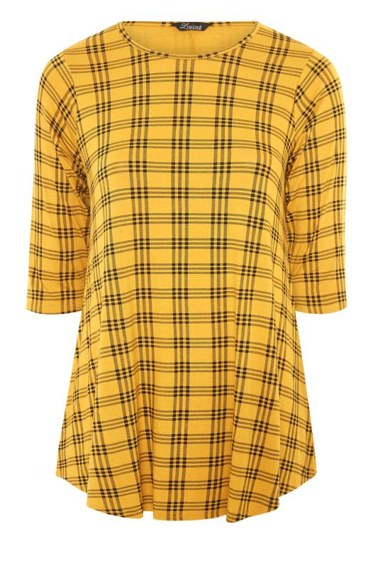 LIMITED COLLECTION Mustard Yellow Check Print Swing Top_F.jpg