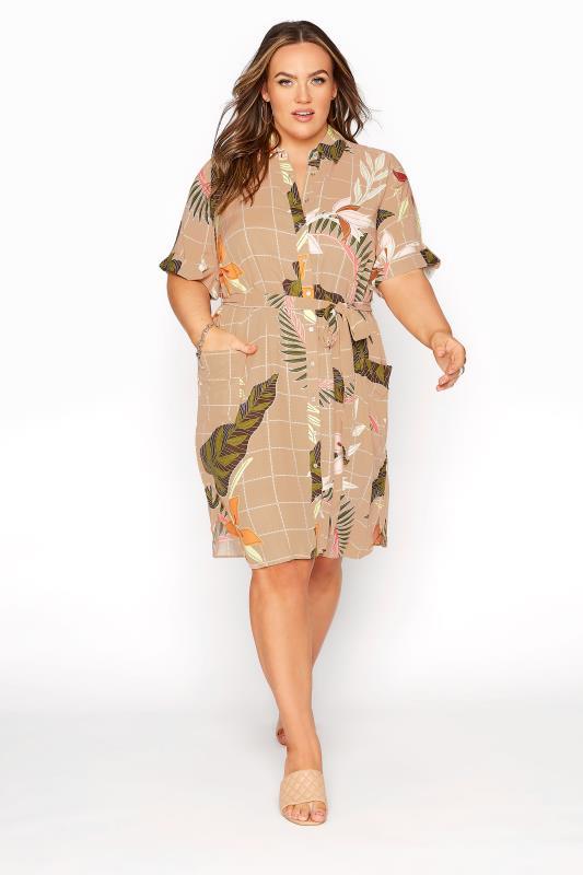 Plus Size  Stone Leaf Print Belted Shirt Dress