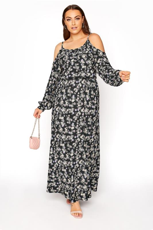 Plus Size  Black Cold Shoulder Floral Maxi Dress