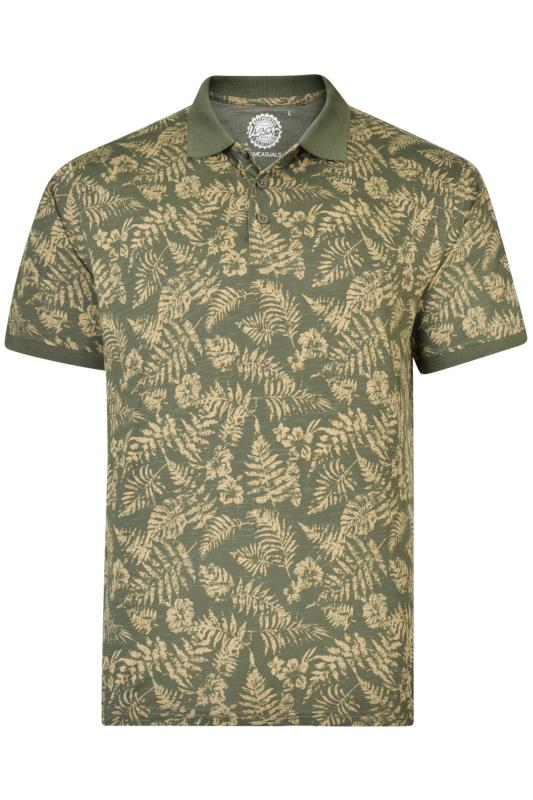 KAM Khaki Leaf Print Polo Shirt