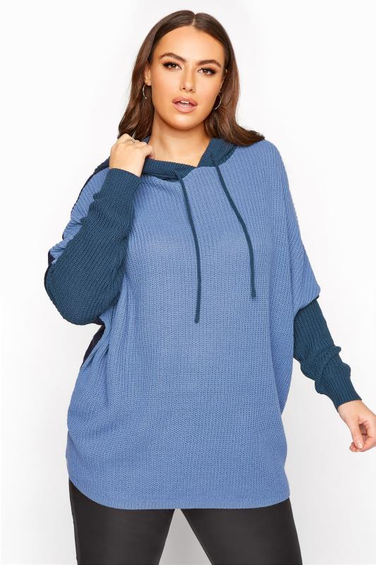 Plus Size  Dusty Blue Colour Block Oversized Knitted Hoodie