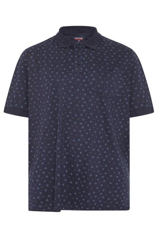 Plus Size  ESPIONAGE Navy Geometric Print Polo Shirt