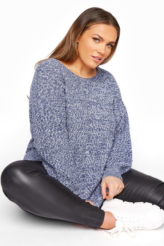 Blue Marl Oversized Knitted Jumper